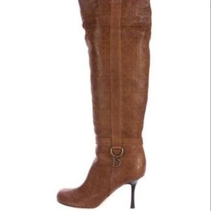 Brown Leather Dior Cannage over the knee Boots